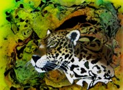 Jaguars Paintings - Eyes of the Seeker by Liz Borkhuis
