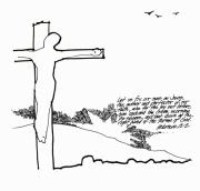 Christian Drawings Framed Prints - Eyes on the Cross Framed Print by Rich Brumfield