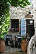 Charming Cottage Prints - Eze Cobblestone Patio Print by Carla Parris