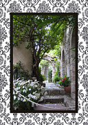 Provence Village Framed Prints - Eze Passageway with border Framed Print by Carla Parris