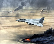 Crimes Photo Prints - F-14 Fighter In Flight Over Burning Print by Everett