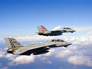 Mid-air Prints - F-14a Tomcats In Flight Print by Dave Baranek