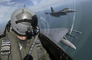 Face Mask Prints - F-16 Fighting Falcons Flying Print by Stocktrek Images