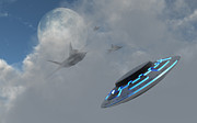 Flying Saucer Digital Art - F-22 Stealth Fighter Jets On The Trail by Mark Stevenson