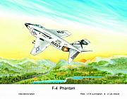 Plane Paintings - F-4 Phantom by Dennis Vebert