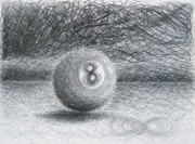 Hall Drawings Prints - F. Eight Ball No. 2 Print by Michael Morgan