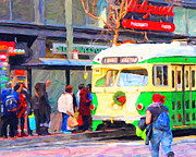 Streetcar Digital Art - F Line Along Market Street . Photoart by Wingsdomain Art and Photography