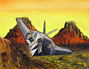 Desert View Paintings - F117 Stealth Sun Set by Veronica Zimmerman