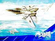 Aviator Painting Posters - F14 and Carrier Poster by Stanley Morganstein