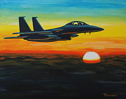 Warplane Paintings - F15 Eagle in sunset by Tommy Midyette