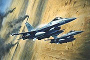 Jets Paintings - F16 Desert Storm by Colin Parker