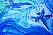 Jet Painting Originals - F18 Fighter Aircrafts in Flight by Stanley Morganstein