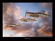 World War Two Artwork Posters - F4-U Corsair Poster by Larry McManus