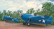 Plane Paintings - F4F Wildcat by Dennis D Vebert
