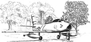 Fighters Drawings Prints - F86 Sabre Jet Print by Barney Hedrick
