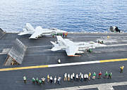 F-18 Posters - Fa-18 Aircraft Prepare To Take Poster by Stocktrek Images