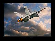 World War Two Artwork Posters - FA-18D Hornet Poster by Larry McManus