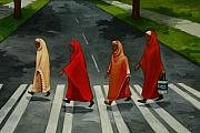 Crosswalk Framed Prints - Fab Four Framed Print by Joan Engelmeyer