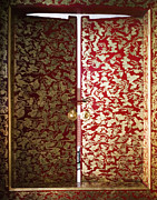 Red Fabric Art - Fabric-Covered Window by Andersen Ross