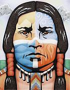 Native American Drawings Posters - Fabric of Harmony Poster by Amy S Turner