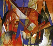 Semi Abstract Paintings - Fabulous Beast II by Franz Marc