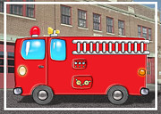 Educational Painting Metal Prints - Fabulous Fire Truck and Station Metal Print by Elaine Plesser