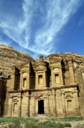 Locations Prints - Facade of Ad Deir an ancient rock-cut monastery in Petra Print by Sami Sarkis