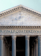 Classical Style Framed Prints - Facade Of The Pantheon In Rome, Italy. Framed Print by Mel Curtis