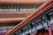 Lacquer Framed Prints - Facade Painting inside the Forbidden City in Beijing Framed Print by Julia Hiebaum
