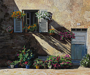 Blue Flowers Paintings - Facciata In Ombra by Guido Borelli