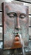 Flowing Fountain Prints - Face Fountain - Riviera Maya Mexico Print by Frank Mari