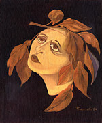 Surrealistic Paintings - Face in autumn leaves by Rachel Hershkovitz
