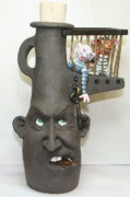 Face Jug Sculpture Acrylic Prints - Face Jug Unlock Your Inner Demons Acrylic Print by Lauren  Marems