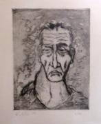 Drypoint Mixed Media - Face Marked By Fatigue by Alfonso Robustelli