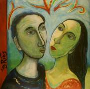Couple Mixed Media - Face Me by Yulonda Rios