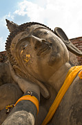 Brown Head Sculpture Prints - Face of a reclining Buddha Print by Ulrich Schade