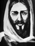 Religious Artist Painting Metal Prints - Face of Christ Metal Print by Larry Cole