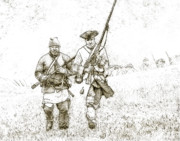 Colonial Scene Prints - Face of Danger Soldier Sketch Print by Randy Steele