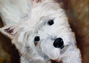 Westie Puppies Posters - Face of Endearment Poster by Mary Sparrow Smith