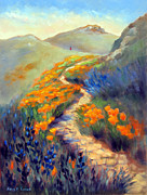 Lupines Paintings - Face of Soberanes Canyon by Karin  Leonard