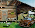 Old Cars Paintings - Face-Off by Doug Strickland