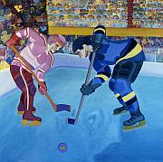 Hockey Painting Metal Prints - Face-off in the corner Metal Print by Yack Hockey Art
