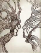 Pen And Ink Drawing Prints - Face tree 11 Print by Brian  Kirchner