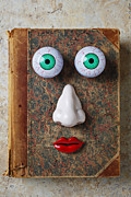 Funny Prints - Facebook old book with face Print by Garry Gay