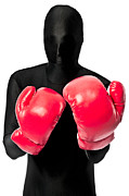 Morph Prints - Faceless Boxer In Red Boxing Gloves Print by Evelyn Peyton