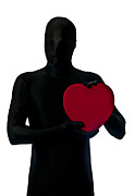 Morph Prints - Faceless Holding Red Heart Print by Evelyn Peyton