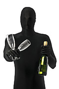 Morph Prints - Faceless Man with Champagne and Glasses Print by Evelyn Peyton