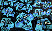 Large Crowds Of People Mixed Media Posters - Faces - light blue Poster by Karen Elzinga