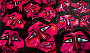 Karen Elzinga Paintings - Faces - pink by Karen Elzinga