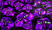 Marathons Prints - Faces - Purple Print by Karen Elzinga